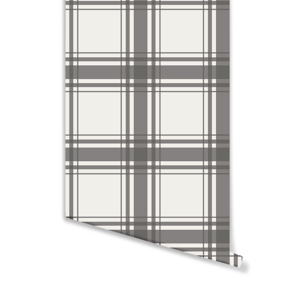 Oxford Plaid Wallpaper in Charcoal