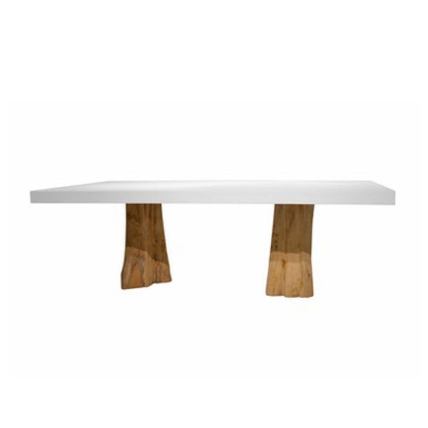 Teak and Cement Outdoor Dining Table