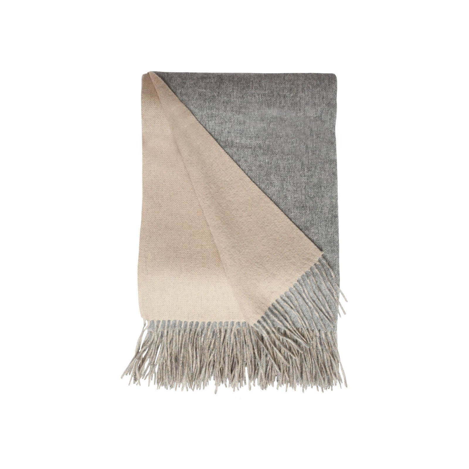 Wool and Cashmere Woven Throw in Grey & Taupe