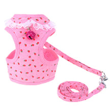 Strawberry, Flower - Adjustable Chest Dog Harness Jingle Bell with Leash