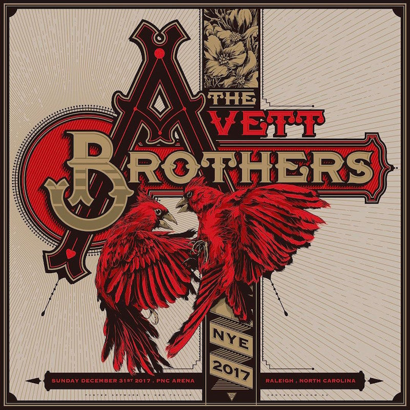 The Avett Brothers NYE Poster by Ken Taylor