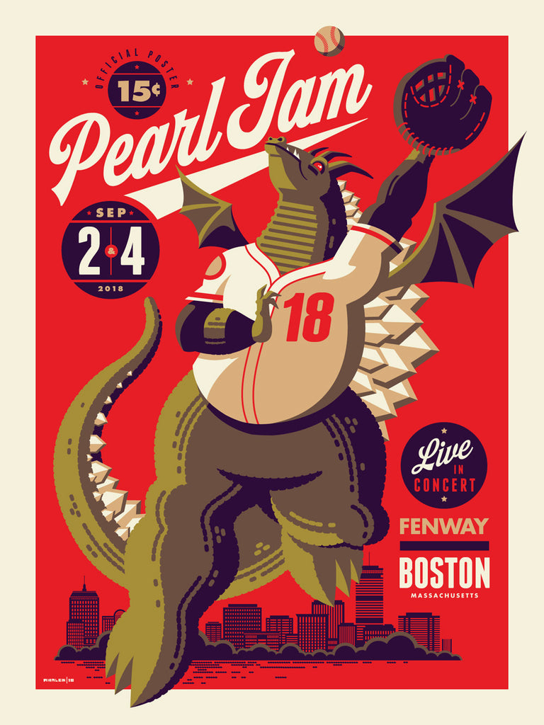 Pearl Jam Fenway Poster by Tom Whalen