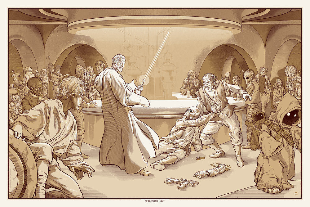 """A Wretched Hive"" Star Wars Poster by Martin Ansin"