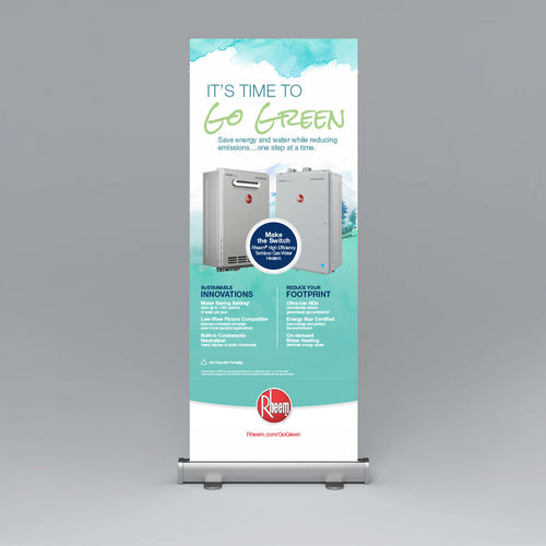 Rheem GO GREEN Tankless Roll Up Banner