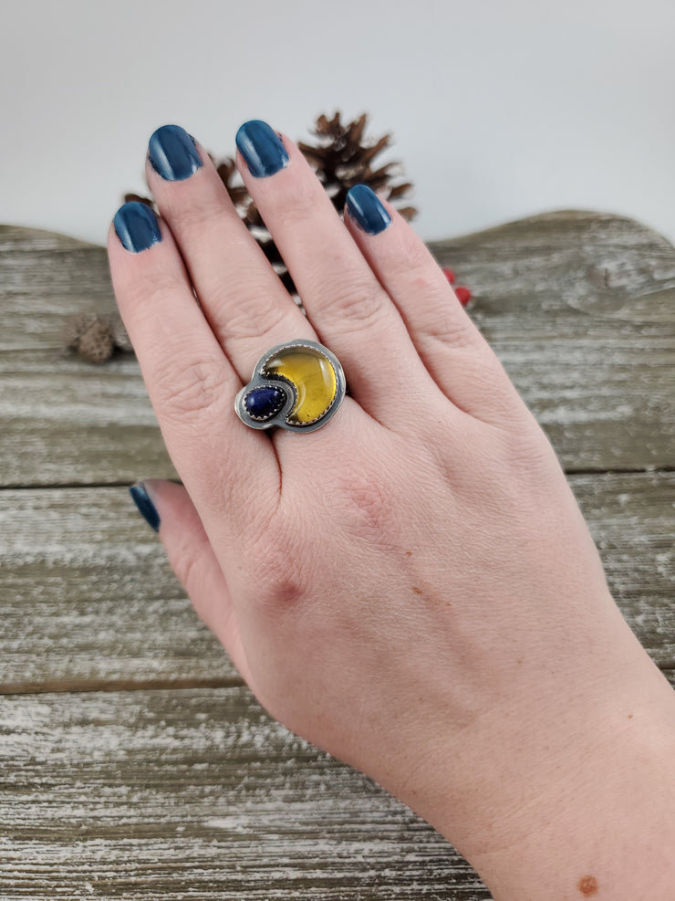 Crescent Moon Amber and Lapis Wide Band Ring Size 9.5 - WOOD BISON METAL