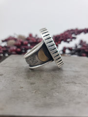 High Grade Royston Turquoise Moon Ring - Size 9 - WOOD BISON METAL