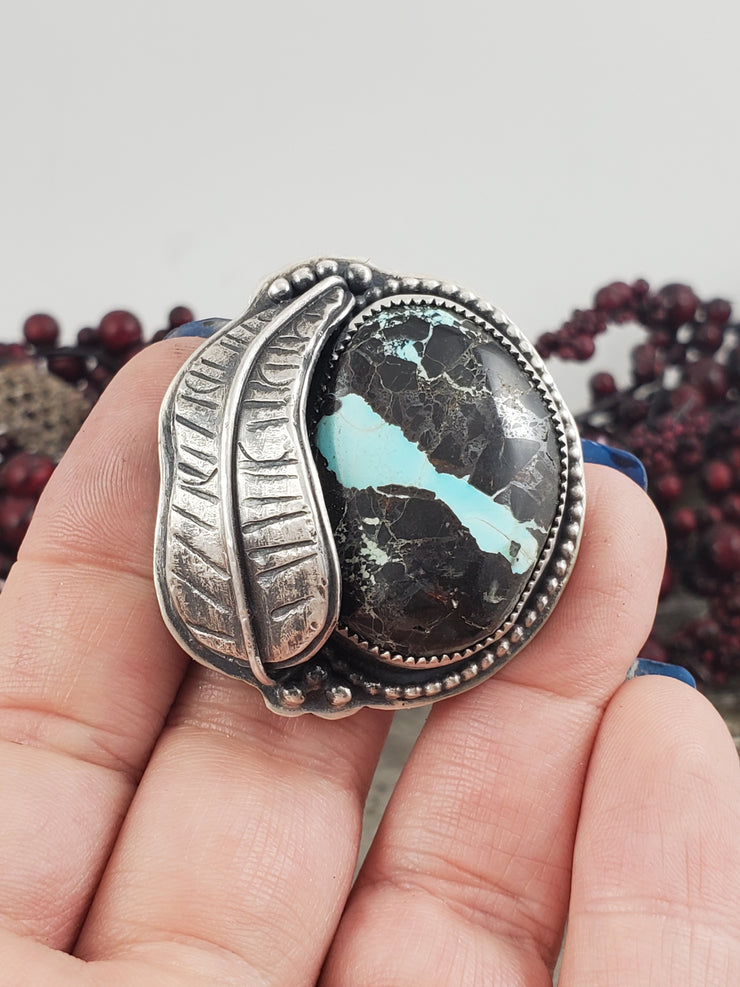 Blue Moon Turquoise Leaf Ring - Size 9.25 - WOOD BISON METAL