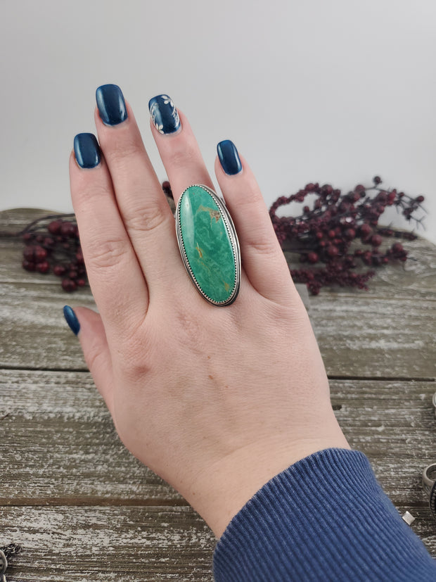 Evans Turquoise Statement Moon Ring - Size 8 - WOOD BISON METAL