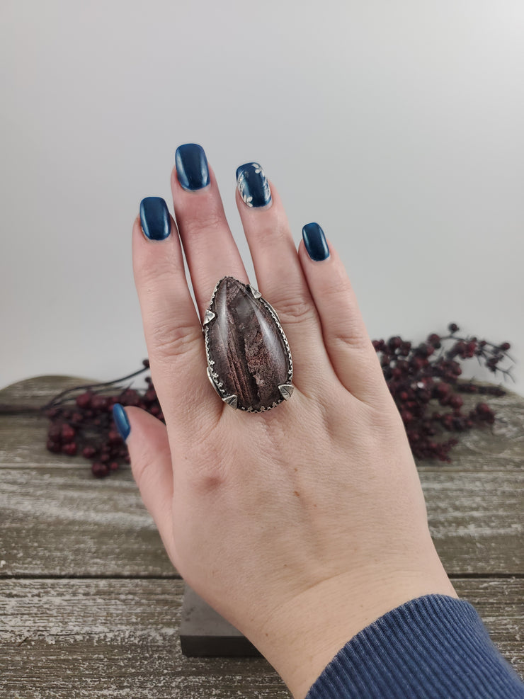 Lodolite Woodlands Statement Ring - Size 9.5 - WOOD BISON METAL