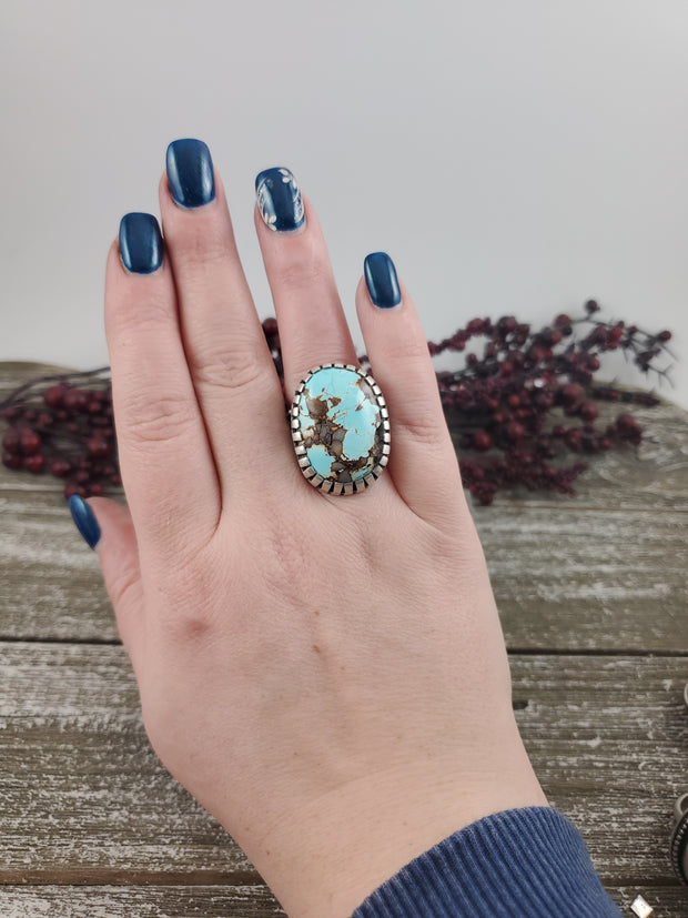 Royston Turquoise Moon Ring - Size 8 - WOOD BISON METAL