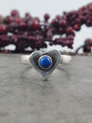 Lapis Lazuli Heart Ring - Size 7.25 - WOOD BISON METAL