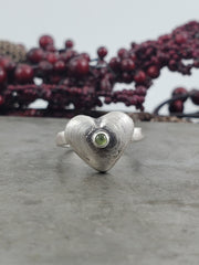 Peridot Hollowform Heart Ring - Size 8 - WOOD BISON METAL