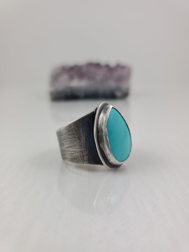 Sleeping Beauty Turquoise Ring - WOOD BISON METAL