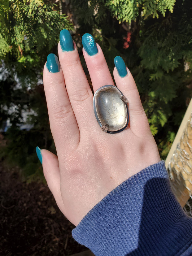 Rutilated Crystal Quartz Woodlands Ring Size 7.25 - WOOD BISON METAL