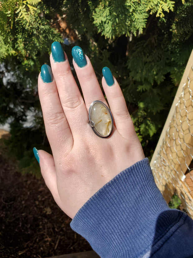 Golden Rutilated Quartz Woodlands Ring Size 8 - WOOD BISON METAL