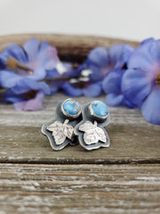 Lavender Turquoise Leaf Earrings - WOOD BISON METAL