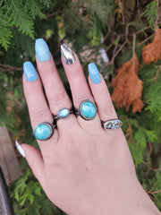 Blue Moon Turquoise Leaf Ring Size 8.75 - WOOD BISON METAL