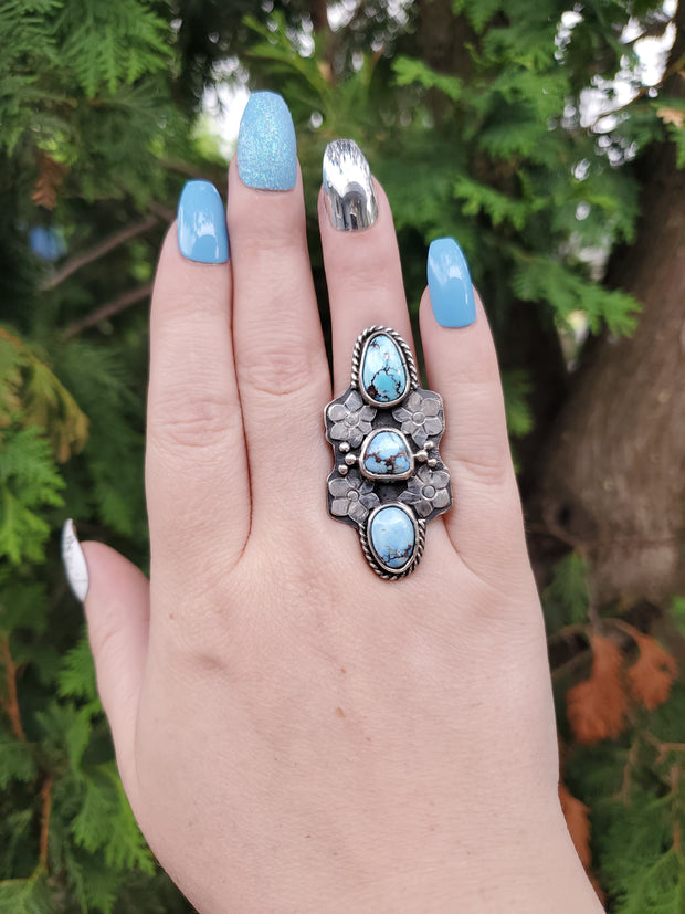 Triple Lavender Turquoise Orchid Ring Size 8 - WOOD BISON METAL