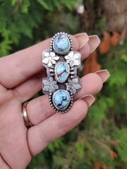 Triple Lavender Turquoise Orchid Ring Size 9.25 - WOOD BISON METAL