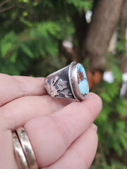 Lavender Turquoise Orchid Ring Size 8.5 - WOOD BISON METAL