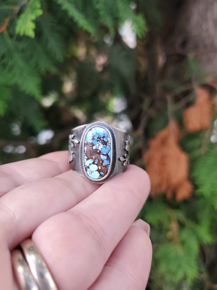 Lavender Turquoise Orchid Ring Size 10 - WOOD BISON METAL