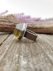 Honeybee Faceted Ring for H - WOOD BISON METAL