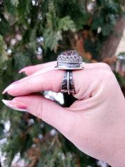 Red Secret Garden Ring - WOOD BISON METAL