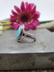 Simple Turquoise Ring Size 7.75 - Wood Bison Metal