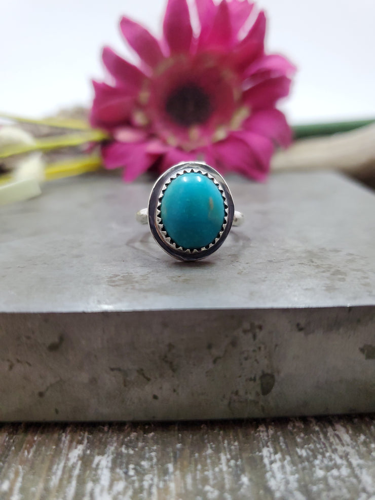 Simple Turquoise Ring Size 7.5 - Wood Bison Metal