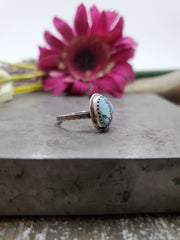 Simple Kazakhstan Turquoise Ring Size 6.25 - Wood Bison Metal