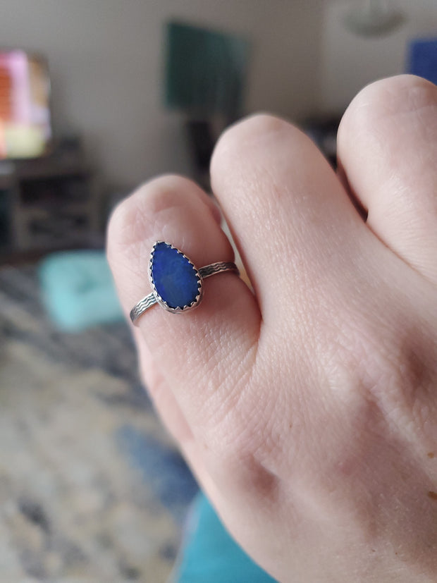 Simple Opal Ring Size 9.5 - Wood Bison Metal