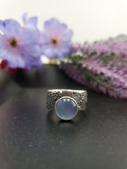 Blue Chalcedony Texturized Ring Size 9.75 - Wood Bison Metal