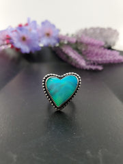 Blue Aurora Opal Heart Ring Size 7 - Wood Bison Metal
