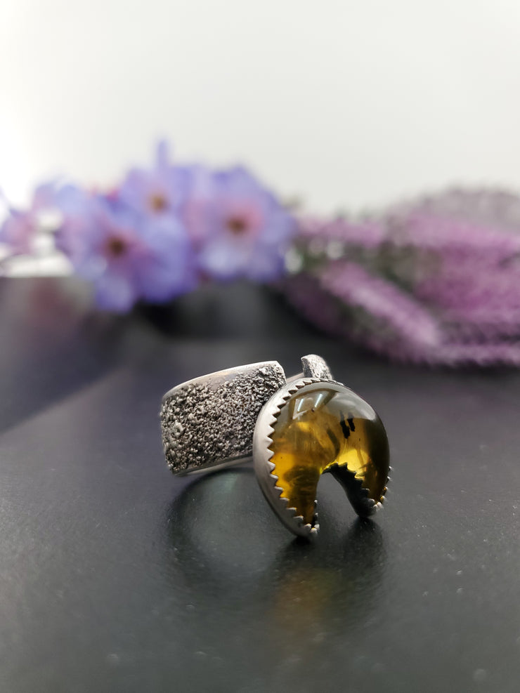 Crescent Moon Texturized Amber Ring Size 9 - Wood Bison Metal