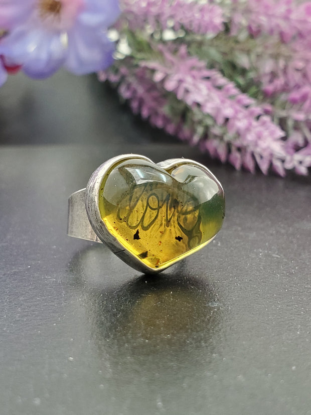 Amber Heart Ring Size 7 - Wood Bison Metal