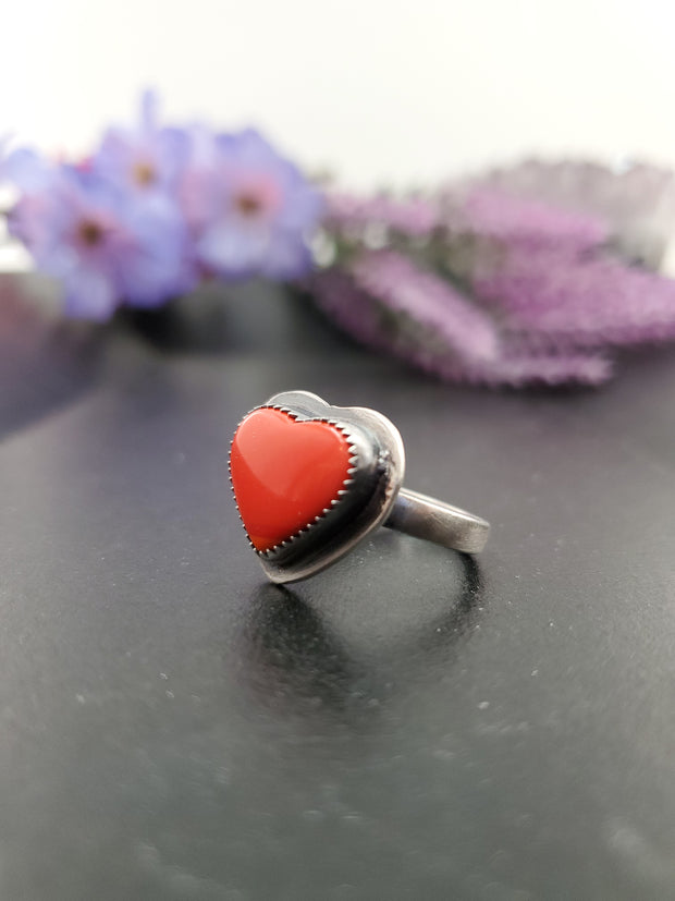 Coral Red Rosarita Heart Ring Size 7.75 - Wood Bison Metal