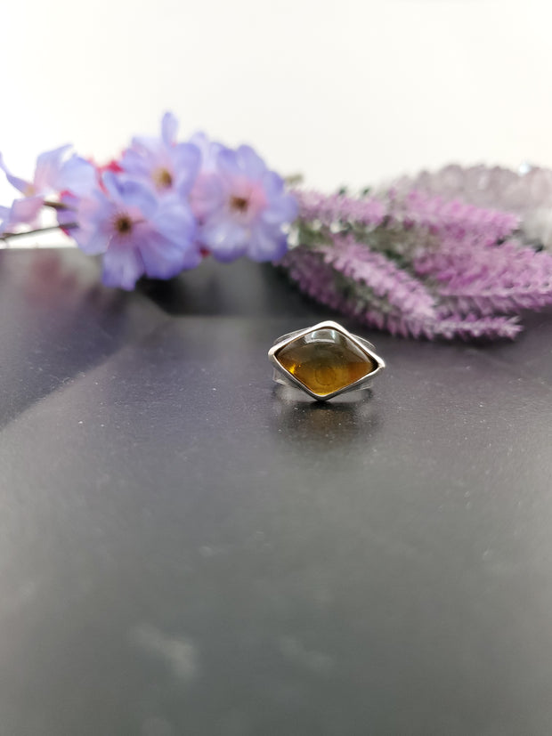Amber Kite Ring Size 8.5 - Wood Bison Metal