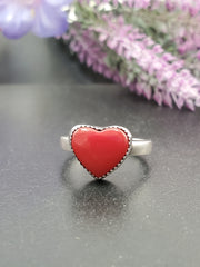 Little Red Rosarita Heart Ring Size 9.5 - Wood Bison Metal