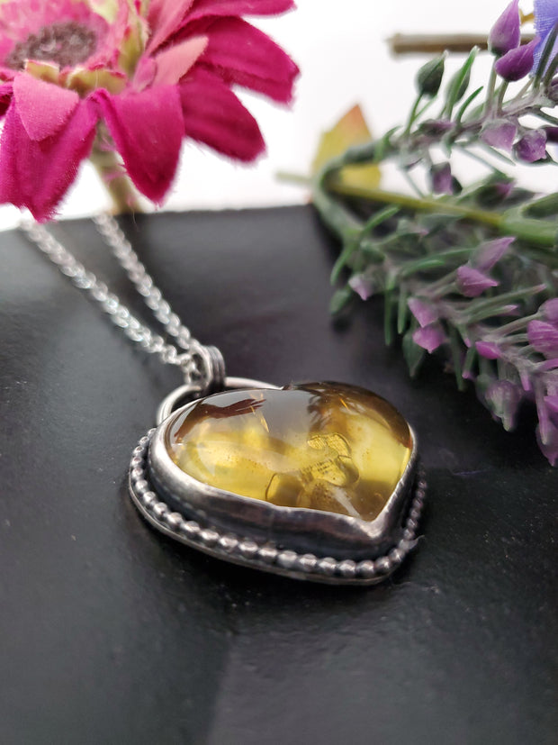 A Lot of Love Amber Heart Necklace - Wood Bison Metal
