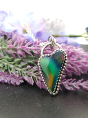Green & Orange Aurora Opal Heart Necklace - Wood Bison Metal
