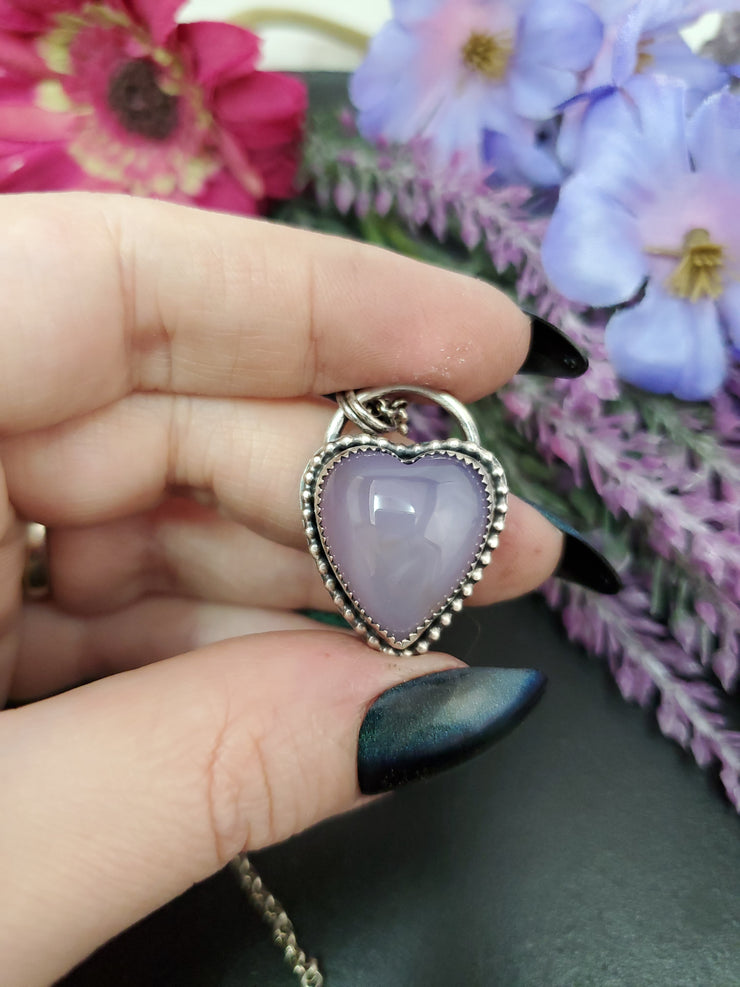 Purple Chalcedony Heart Necklace - Wood Bison Metal