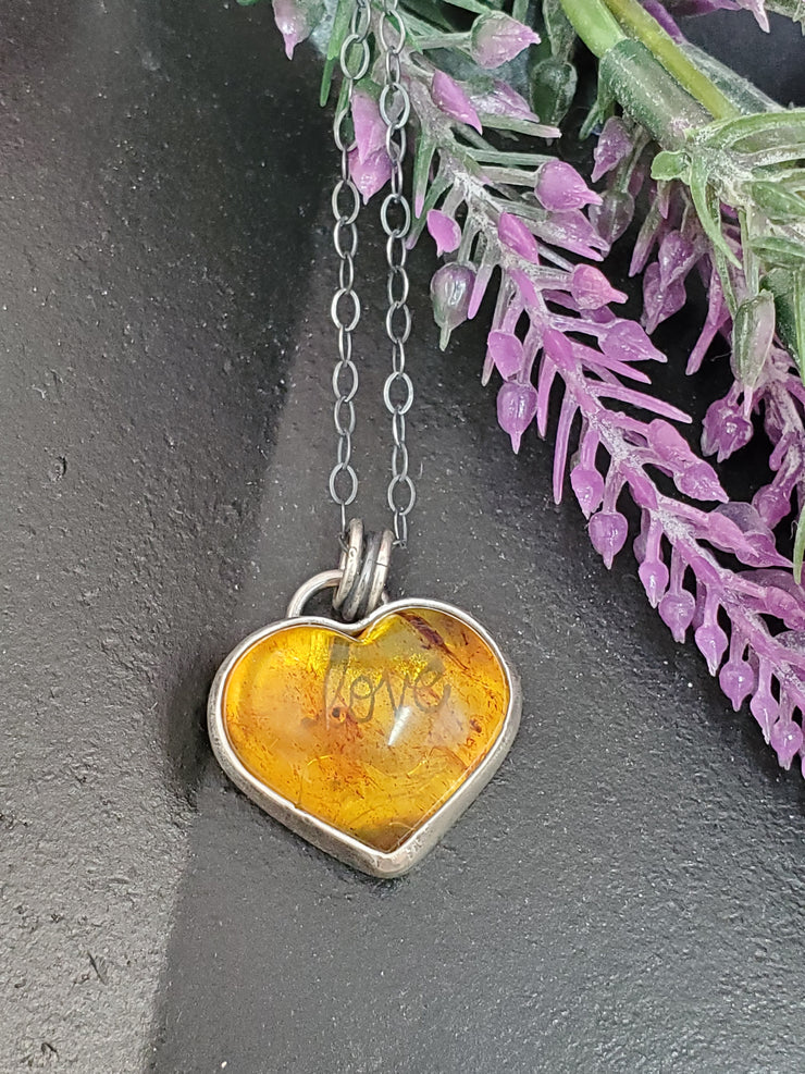 A Little Love Amber Heart Necklace - Wood Bison Metal