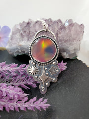 Twilight Aurora Opal Full Moon Necklace - Wood Bison Metal