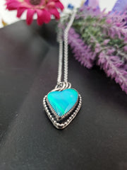 Bright Blue Aurora Opal Heart Necklace - Wood Bison Metal