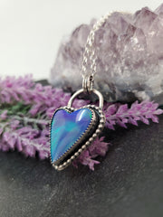 Green & Blue Aurora Heart Necklace - Wood Bison Metal