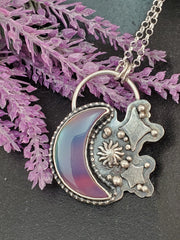 Twilight Aurora Opal Moon Necklace - Wood Bison Metal