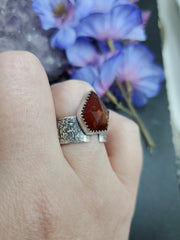 Garnet Texturized Ring Size 7.5 - Wood Bison Metal