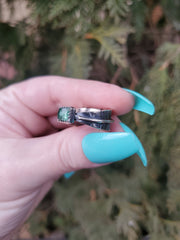 Light Green Tourmaline Serenity Ring Size 7.75 - Wood Bison Metal