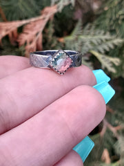 Watermelon Tourmaline Serenity Ring Size 5.5 - Wood Bison Metal