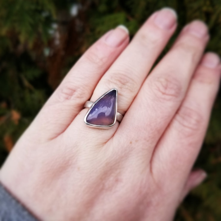 Purple Chalcedony Statement Ring Size 6 - WOOD BISON METAL